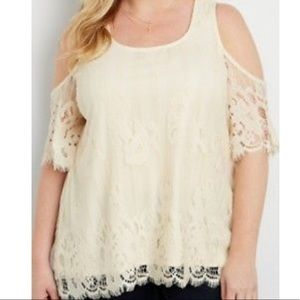 {Maurices} Lace cold shoulder tunic ivory top NWT